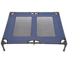Dog Elevated Raised Cot Bed in Blue and Black