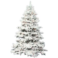 10' Flocked Alaskan Christmas Tree with 1400 LED Multi Colored Lights