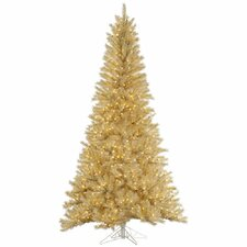 9' White/Gold Tinsel Artificial Christmas Tree with 1000 LED Clear Dura-Lit Lights