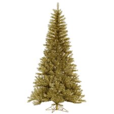 4.5' Gold/Silver Tinsel Christmas Tree