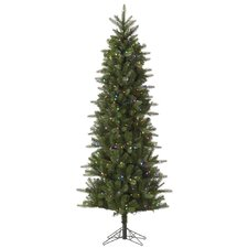 10' Carolina Pencil Artificial Christmas Tree with 550 LED Multi Colored Lights with Stand