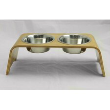 Bent Wood Double Bowl Elevated Feeder