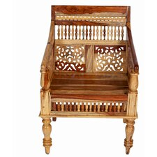 Taos Maharaja Hand-carved Solid Sustainable Sheesham Armchair by Porter International Designs