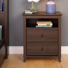 Ellen Tall Espresso 2 Drawer Nightstand by Latitude Run