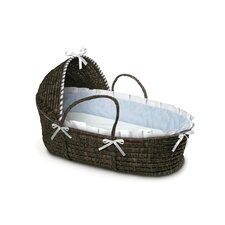 Hooded Moses Basket with Gingham Bedding