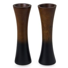 Thai Trumpets Mango Wood Vase (Set of 2)