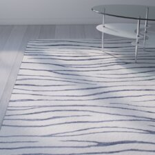 Donnie Hand-Tufted White/Navy Blue Area Rug