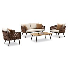 Blosser 4 Piece Lounge Seating Group with Cushion