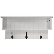 Wall Mounted Hall Rack with Storage and 3 Coat Hooks
