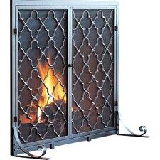 Single Panel Geometric Fireplace Screen