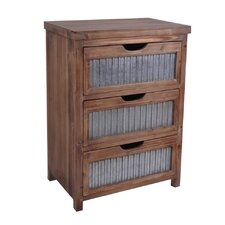 Wooden 3 Drawer with Galvanized Accent Chest