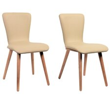 Perla Side Chair in Faux Leather - Cream (Set of 2)