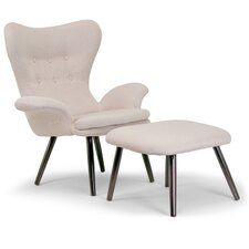 Akari Fabric Accent Wing back Chair and Ottoman by Glamour Home Decor