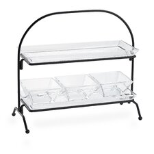 Courtland 2-Tier Server With 2-Glass Trays, 3-SQ. Bowls
