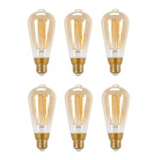 60W Equivalent Soft White (2200K) Vintage Edison Dimmable LED Light Bulb (Set of 6)