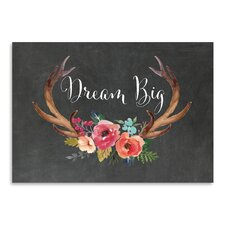 Dream Big Antlers Graphic Art in Chalkboard