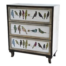 Carnesville Birds on a Wire 3 Drawer Painted Chest by August Grove