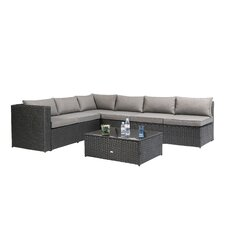 Nat Wicker 4 Piece Sectional Seating Group with Cushion