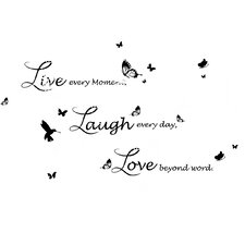 Swarovski with Live Laugh Love Quote Lucida Version Wall Sticker