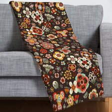 Floral Cacao Throw Blanket