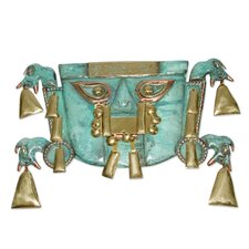 Chimu Elegance Bronze and Copper Mask Wall Décor