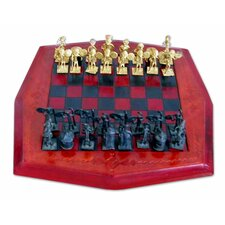 Leather and Brass Chess Set