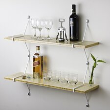 Double Bamboo Shelves with Diagonal Brackets by Assa Design