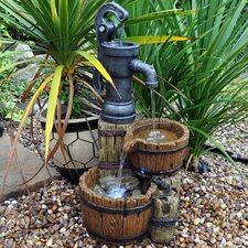 Wood Twin Barrel and Hand Pump Water Fountain