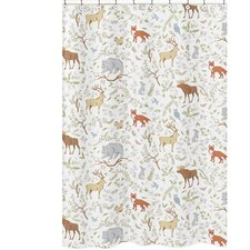 woodland toile cotton shower curtain