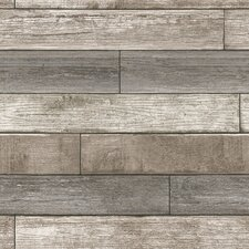"""Nu 18' x 20.5"""" Reclaimed Wood Plank Natural Wallpaper Roll"""