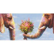 Leinwandbild Elephants in Love