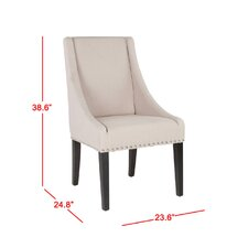 Flossmoor Side Chair (Set of 2) in Linen - Taupe with Nailheads (Set of 2)