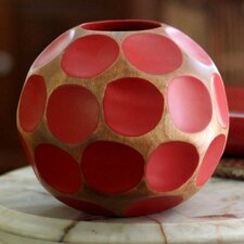 Round Hand Carved Mango Wood Table Vase