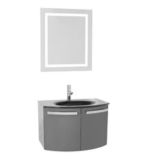 Crystal Dance 28 Single Bathroom Vanity Set with Mirror by Nameeks Vanities