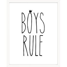 'Boys Rule' Black and White Crown Paper Print
