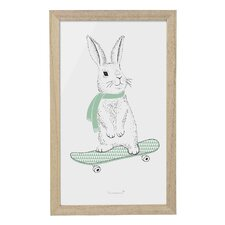 Rabbit on Skateboard Framed Art