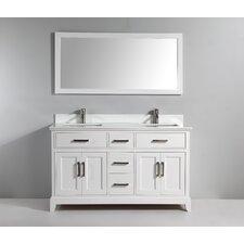 60 Double Bathroom Vanity Set with Mirror by Vanity Art