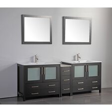 84 Double Bathroom Vanity Set with Mirror by Vanity Art