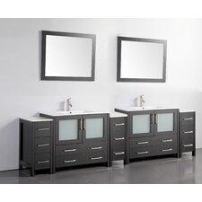 108 Double Bathroom Vanity Set with Mirror by Vanity Art
