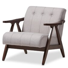 Enrico Mid-Century Modern Wood Fabric Lounge Chair by Wholesale Interiors