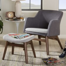 Victoria Mid-Century Modern Lounge Chair and Ottoman by Wholesale Interiors