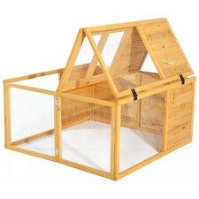 PawHut Fully Folding Sheltered Wooden Rabbit Hutch