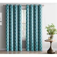 Lattice Geometric Blackout Thermal Grommet Curtain Panels (Set of 2)