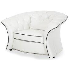 Mia Bella Flare Arm Molisa Leather Barrel Chair by Michael Amini (AICO)