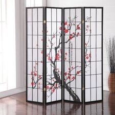 """Glebe 71"""" x 72"""" Japanese Plum Blossom 4 Panel Room Divider"""