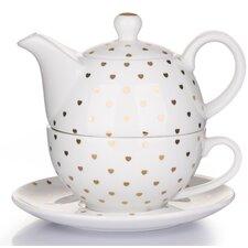 3 Pieces Porcelain Gold Heart Teapot Set