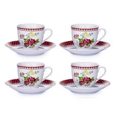 8 Pieces Retro Rose Cup and Saucer Set