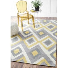 Stoltenberg Hand-Hooked Gray/Yellow Area Rug