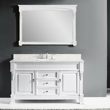 Huntshire 60 Single Bathroom Vanity Set with White Marble Top and Mirror by Virtu USA