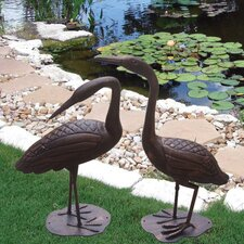 Birds of a Feather 2 Piece Crane Statue Set